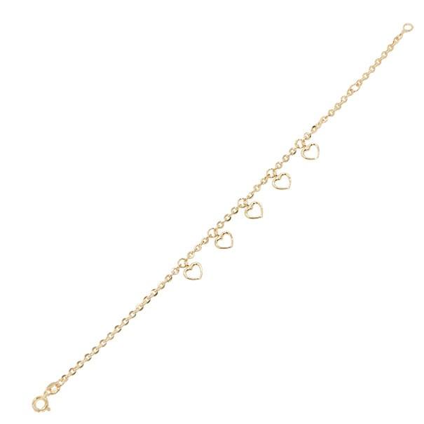 Pulseira em Ouro 18k Bailarina com Berloques Corações Vazados 15cm - 1.40g