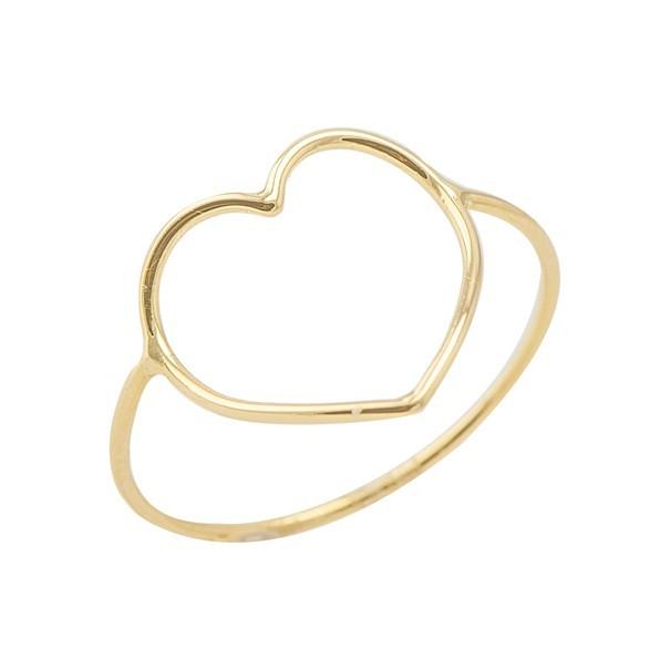 Anel em Ouro 18k Forme Coração Grande Vazado