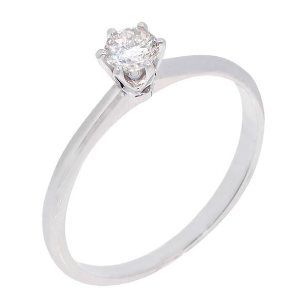 Anel Branco Solitário com Diamante 20 Pontos
