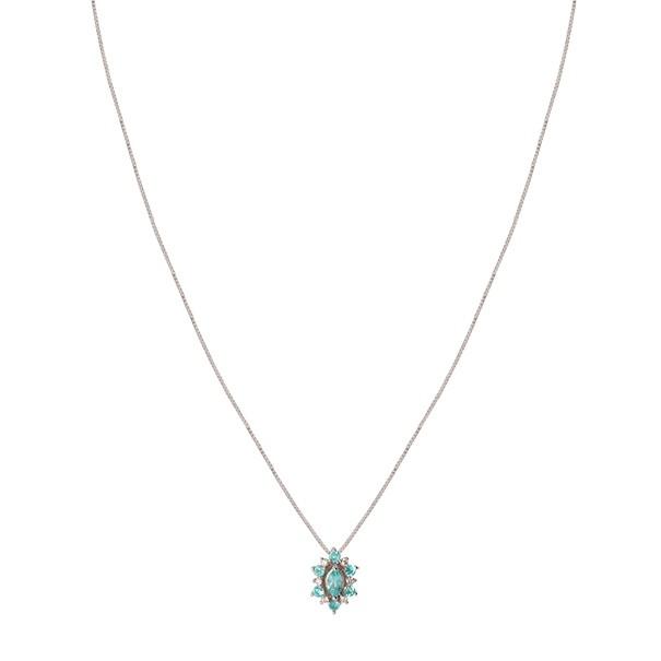 Gargantilha em Ouro Branco 18k Unik Navete com Turmalina Paraiba e 6 Diamantes
