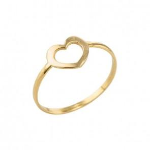 Anel em Ouro 18k Forme Falange/Infantil Coração Vazado