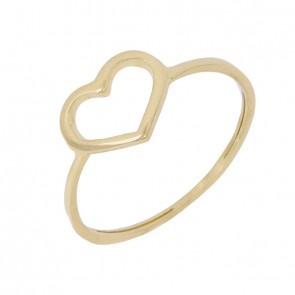 Anel em Ouro 18k Forme Coração Vazado Polido