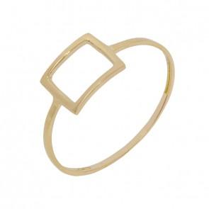 Anel em Ouro 18k Forme Quadrado Vazado Polido