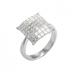 Anel branco quadrado com Diamantes Prince
