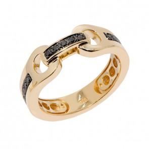Anel em Ouro 18k Alpha Handcuff com 15 Diamantes Black