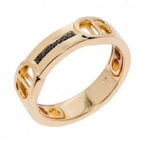 Anel em Ouro 18k Alpha Polido com 7 Diamantes Black