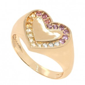 Anel em Ouro 18k Coração Multi Stones com Pedras Naturais