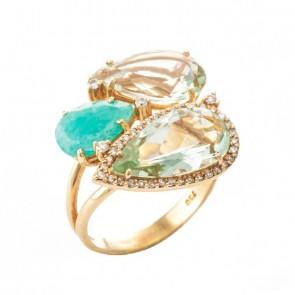 Anel gotas Amazonita e Prasiolita com Diamantes