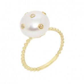 Anel Bolinhas com Pérola Botão e 5 Diamantes