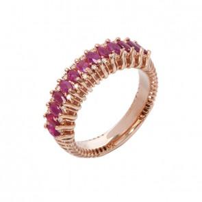 Anel Rosé Diamond Color com 24 Diamantes e 13 Rubis Navetes 4x2