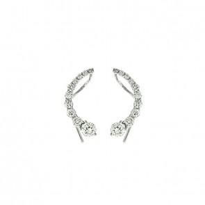 Brinco Ear Cuff Circulos com 20 Diamantes 1.24Cts