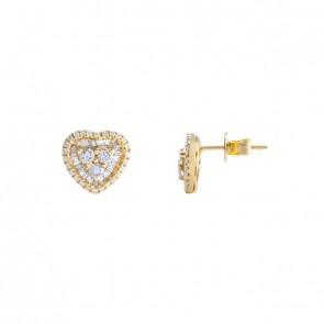 Brinco coração médio com Diamantes