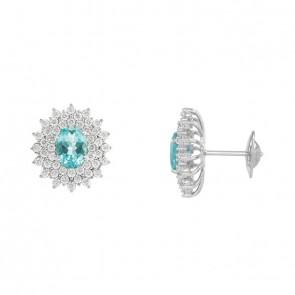 Brinco branco princesa oval apatita com 84 diamantes