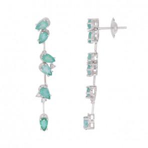 Brinco Branco Outono da Toscana com 30 Diamantes e 12 Esmeraldas Gota 3x3