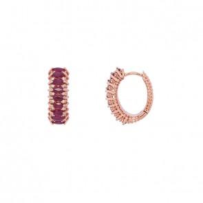 Brinco Rosé Diamond Color com 32 Diamantes e 18 Rubis Navetes 4x2