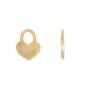 Pingente em Ouro 18k Cadeado Coração Fosco/Polido