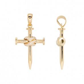 Pingente em Ouro 18k Crucifixo Alpha Nail Polido com 17 Diamantes