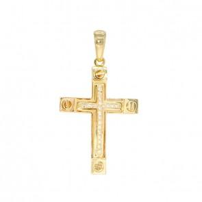 Pingente em Ouro 18k Cruz Alpha Polida com 22 Diamantes