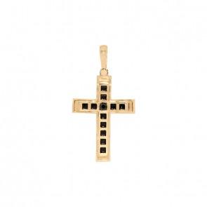 Pingente em Ouro 18k Cruz Alpha Bicolor Polida com 1 Diamante Black 15 pts