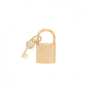 Pingente em Ouro 18k Cadeado/Chave Polido com 3 Brilhantes