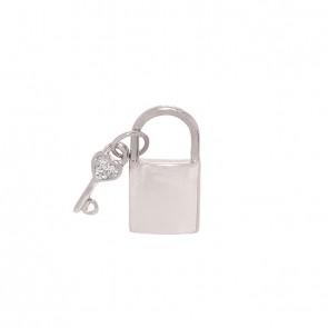 Pingente em Ouro Branco 18k Cadeado/Chave Polido com 3 Brilhantes