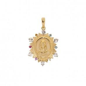 Pingente em Ouro 18k Sacra Sagrado Coração de Maria com Pedras Naturais