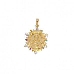 Pingente em Ouro 18k Sacra Sagrado Coração de Jesus com Pedras Naturais