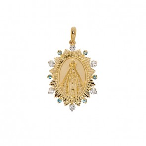 Pingente em Ouro 18k Sacra Nossa Sra. Aparecida com Pedras Naturais