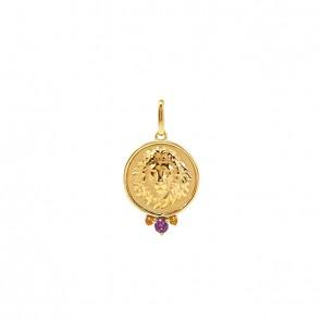 Pingente em Ouro 18k Aurea Leão com Pedras Naturais