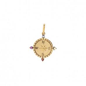 Pingente em Ouro 18k Aurea Rosa dos Ventos com Pedras Naturais