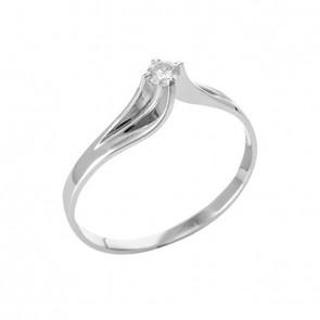 Anel solitário branco com Diamante