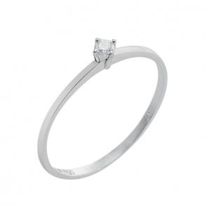 Anel solitário branco com Diamante 5 pontos
