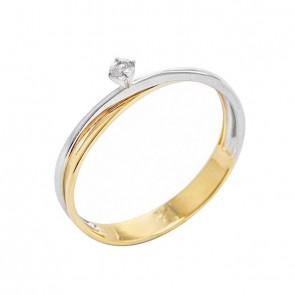 Anel em Ouro 18k Bicolor Solitário Cartie com Diamante 7 Pontos