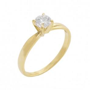 Anel Ouro Solitario com Diamante 50 pontos