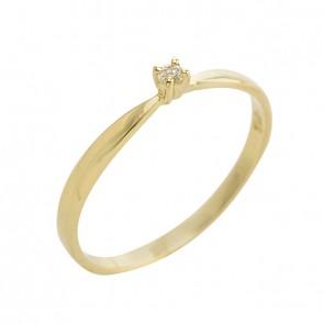 Anel Ouro Solitário Com Diamante 3 Pontos