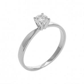 Anel Branco Solitário Com Diamante 30 Pontos