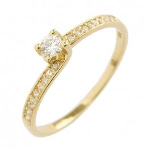 Anel Solitário Ouro 18k Com Diamante 10 Pontos Aro Torcido Cravejado com 18 Diamantes