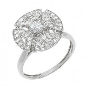 Anel White Royals Com 1 Diamante 30 Pontos e 45 Diamantes 0.33Ct