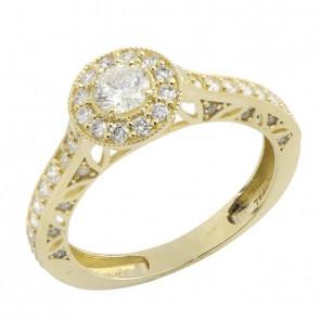 bcfd4b645560a Anel Solitário Yellow Voile Blanc 1 Diamante 30 Pontos Aro com 44 Diamantes