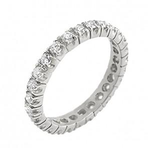 Aliança Branca Inteira com 27 Diamantes