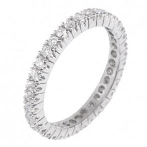 Aliança Branca Inteira com 35 Diamantes
