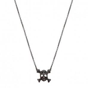 Gargantilha em Ouro 18k Caveira Ossos Negra com 15 Diamantes Black