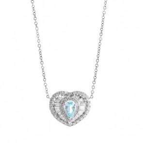 Gargantilha branca Coração com Turmalina Paraíba e 56 Diamantes