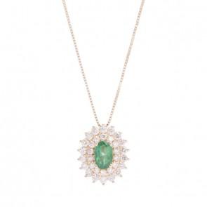 Gargantilha chuveiro princesa oval pedra preciosa com 28 brilhantes