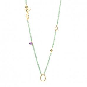 Gargantilha em Ouro 18k Sensi Força 70cm com Quartzo Verde, Ametista e Peridoto