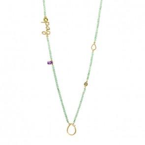 Gargantilha em Ouro 18k Sensi Paz 70cm com Quartzo Verde, Ametista e Peridoto