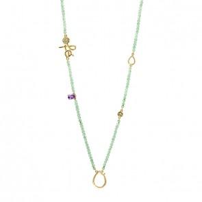 Gargantilha em Ouro 18k Sensi Fé 70cm com Quartzo Verde, Ametista e Peridoto