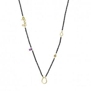 Gargantilha em Ouro 18k Sensi Paz 70cm com Espinélio, Ametista e Peridoto