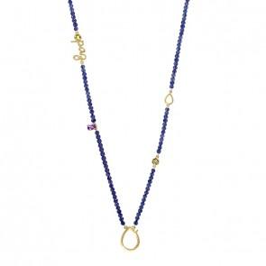 Gargantilha em Ouro 18k Sensi Paz 70cm com Lápis-lazúli, Ametista e Peridoto