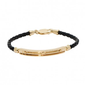 Pulseira em Ouro 18k Alpha Leather Plate with Ropes